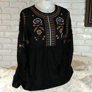 World Market Black Embroidered Bohemian Tunic S/M
